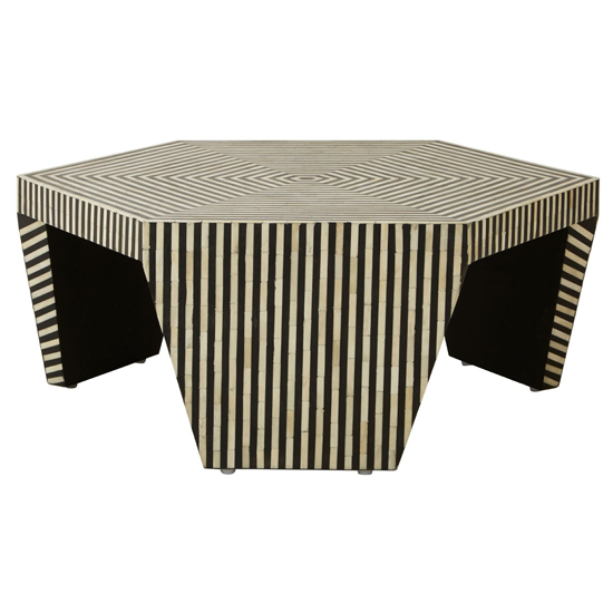 Diadem Hexagon Buffalo Bone Wooden Coffee Table