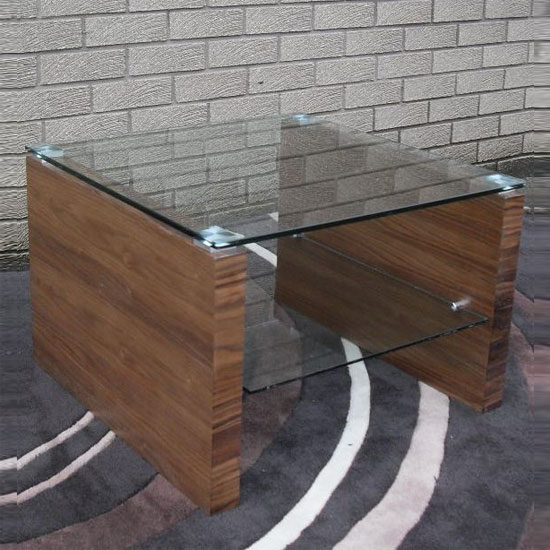 Fusion Clear Glass and Veneer Lamp Table
