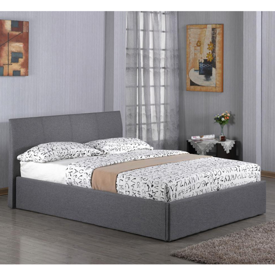 Fusion Linen Fabric Storage Single Bed In Grey