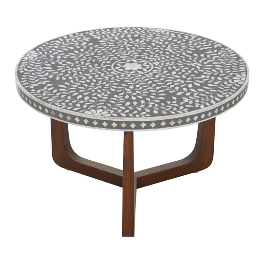 Fusion Mdf Round Coffee Table With Mango Wood Legs