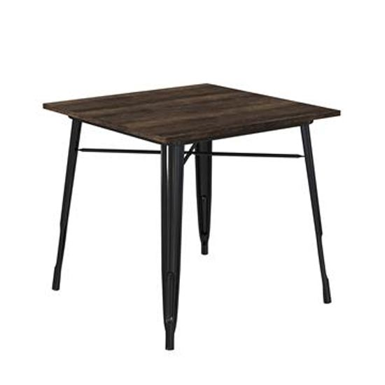 Fusion Metal Square Dining Table In Black
