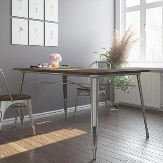 Fusion Rectangular Dining Table In Antique Gun Metal_2