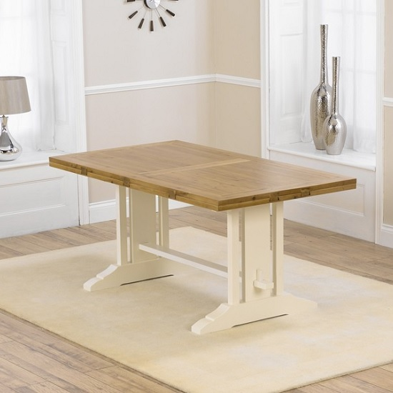 Fusion Extendable Dining Table In Solid Oak With Cream Legs