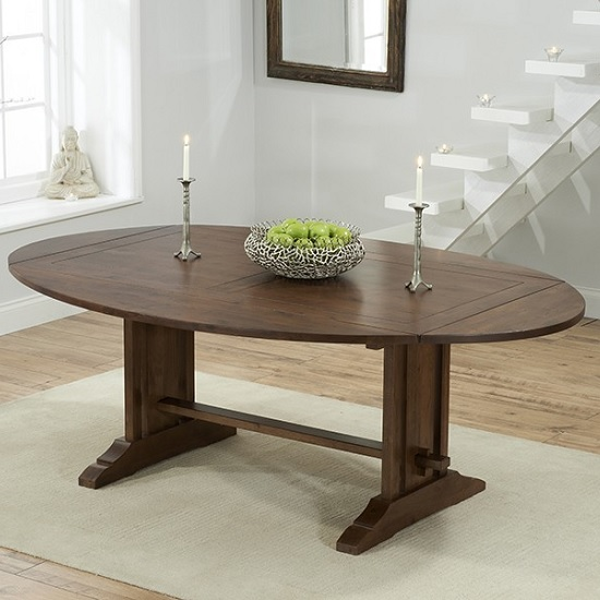 Fusion Extendable Wooden Dining Table In Dark Oak