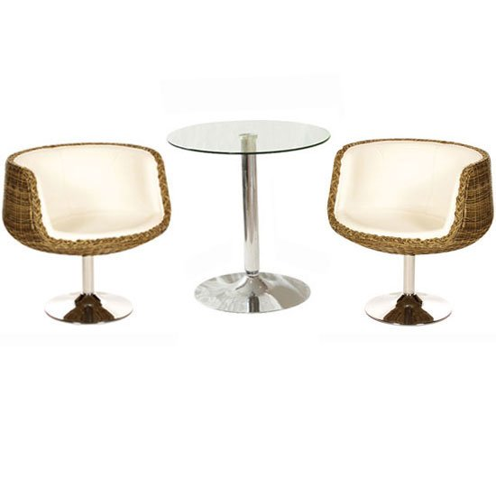 Glass bistro table With 2 Aquila Cream Chairs FW37DR