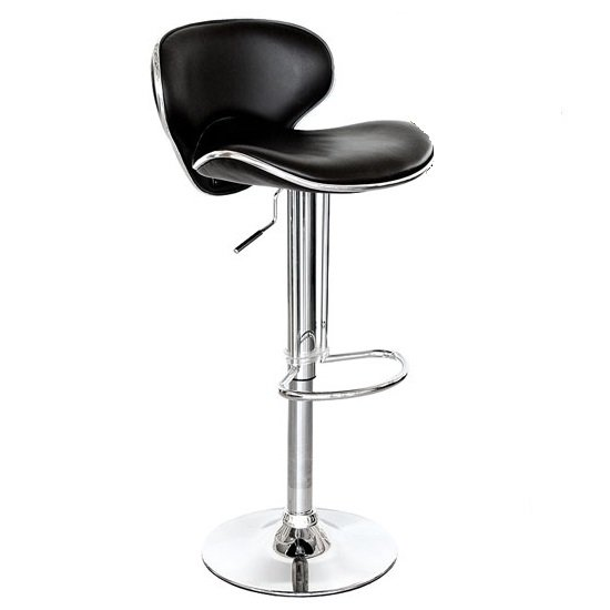 Duo Bar Stool In Black Faux Leather With Chrome Base