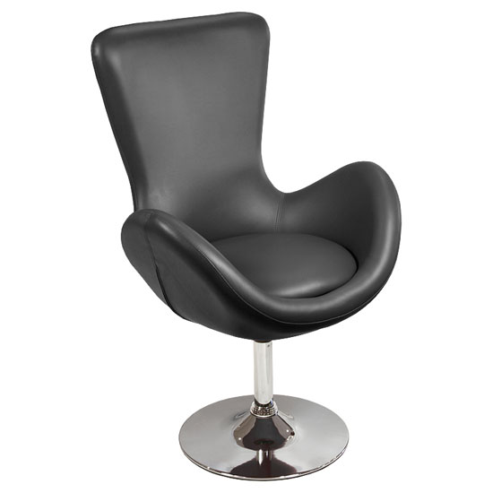 Destiny Modern Rotating Bucket Chair in Black Faux Leather