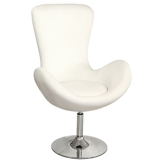 Destiny Modern Rotating Bucket Chair in White Faux Leather