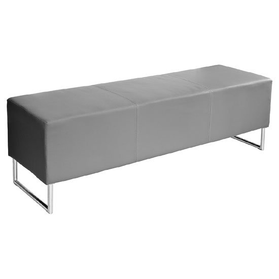 Blockette Bench Seat In Grey Faux Leather With Chrome Legs