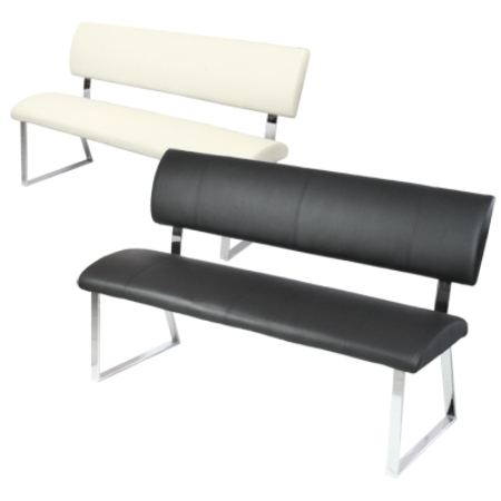 Read more about Triple diner bench in faux leather with metal legs