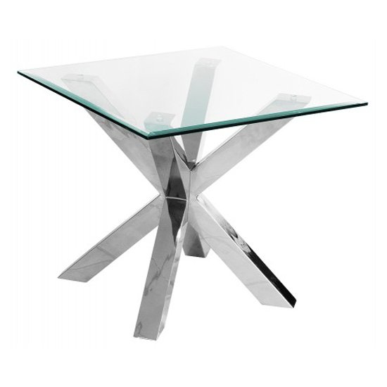 Crosley Square Clear Glass Lamp Table 18183 Furniture in