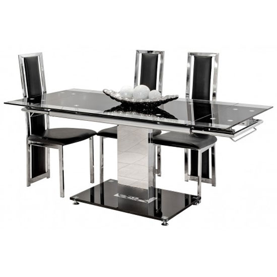 Extendable 6 Seater Black Glass Dining Table With Black Base