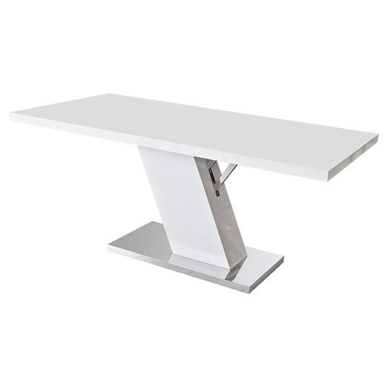 Osmen Dining Table In White High Gloss With Chrome Base