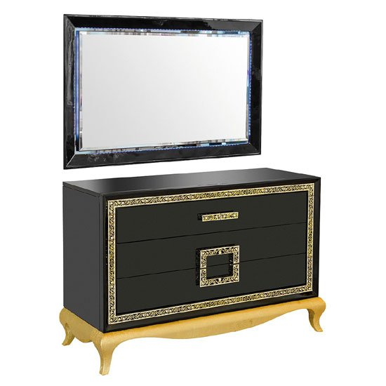Read more about Frenzi dresser with mirror in black gloss and diamanté jewels