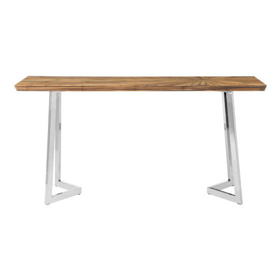 Gaberot Wooden Console Table In Natural With Silver Legs