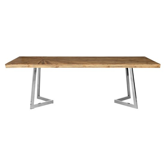 Gaberot Wooden Dining Table In Natural With Silver Legs