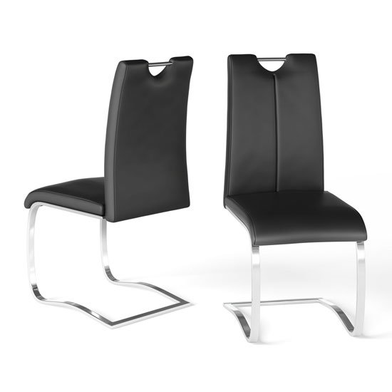 Gabi Black Faux Leather Dining Chair In A Pair