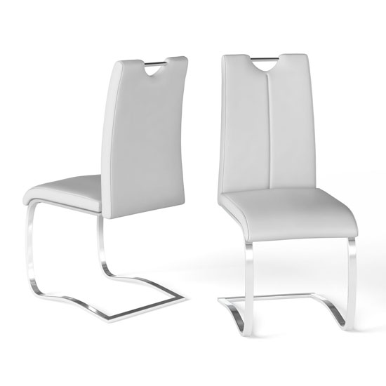 Gabi White Faux Leather Dining Chair In A Pair