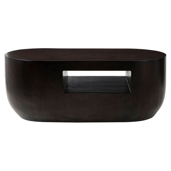 Gablet Oblong Wooden Coffee Table In Dark Brown