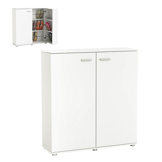 Gabriella Wooden Shoe Cabinet In Pearl White With 2 Doors