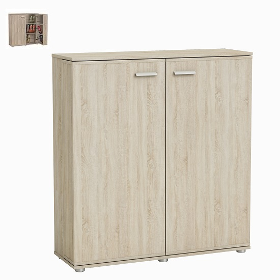 Gabriella Wooden Shoe Cabinet In Brushed Oak With 2 Doors