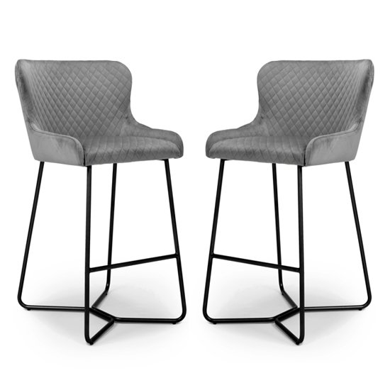 Gala Grey Brushed Velvet Bar Stools In Pair