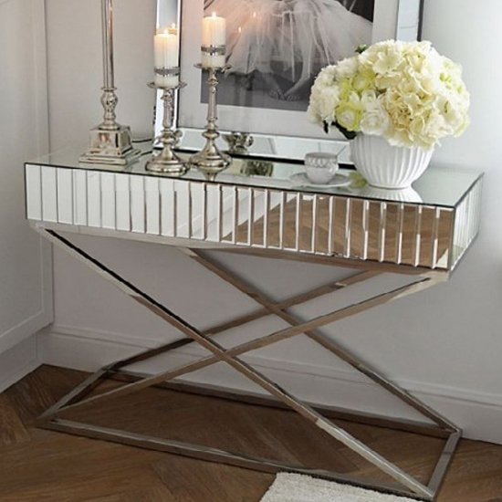 View Gala mirrored wooden console table in silver