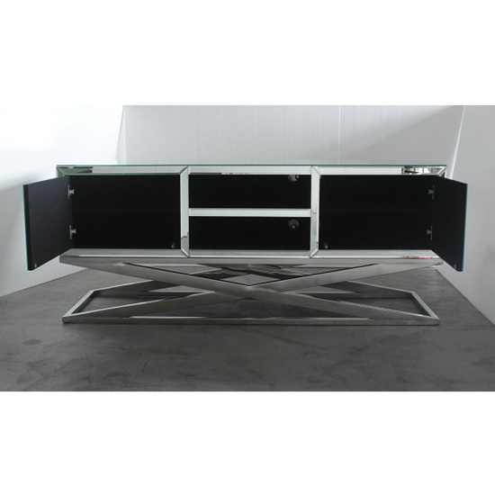 Gala Mirrored Wooden TV Stand In Silver_2