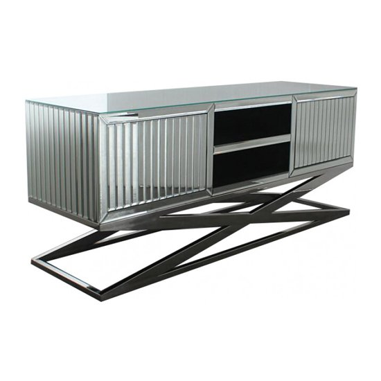 Gala Mirrored Wooden TV Stand In Silver_3