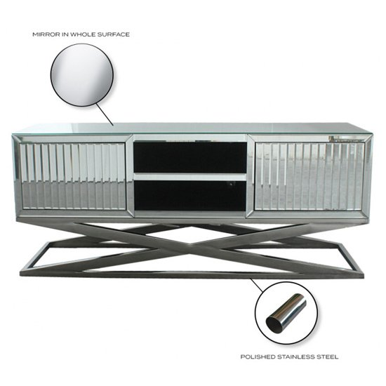 Gala Mirrored Wooden TV Stand In Silver_4