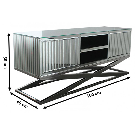 Gala Mirrored Wooden TV Stand In Silver_5