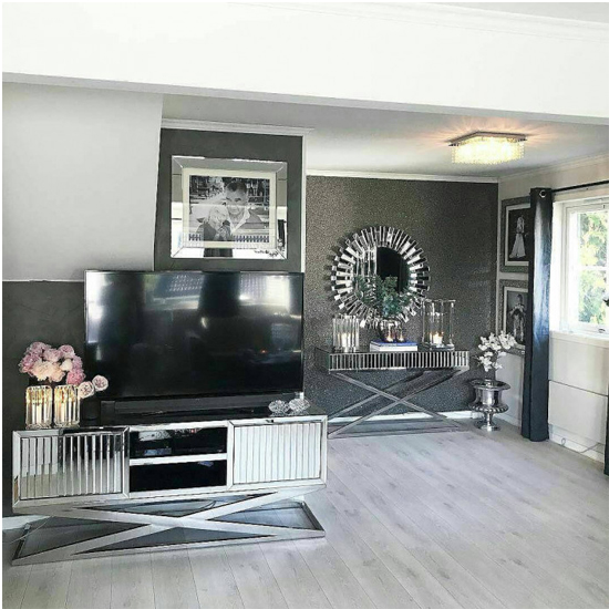 Gala Mirrored Wooden TV Stand In Silver_6