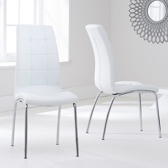 Palmer Round Glass Dining Table With 4 Gala White Dining Chairs_3