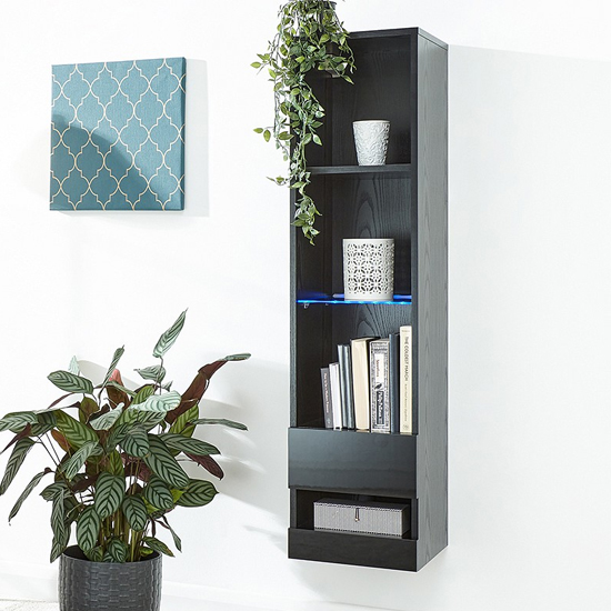 Abril LED Wall Mounted Tall Wooden Shelving Unit In Black Gloss