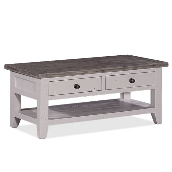 Read more about Galleon wooden coffee table in cotton white with storage