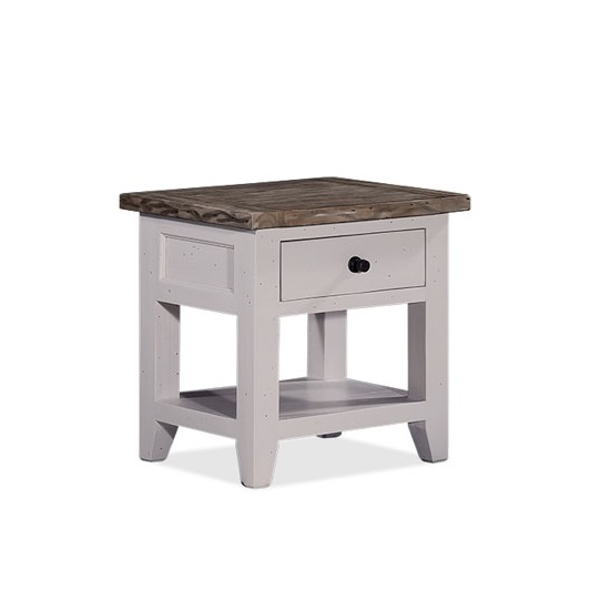 Galleon Wooden End Table In Cotton White