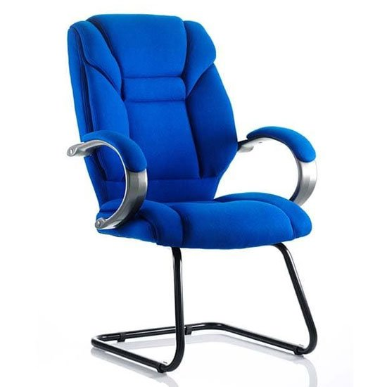 Galloway Fabric Cantilever Visitor Chair In Blue With Arms