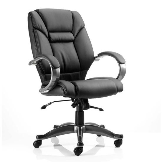 Galloway Leather Executive Office Chair In Black With Arms