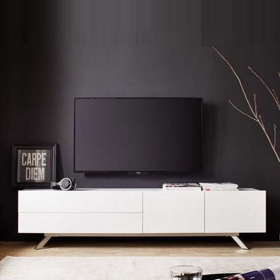 Gallus TV Stand In Matt White With 2 Doors And 2 Drawers_1