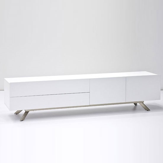 Gallus TV Stand In Matt White With 2 Doors And 2 Drawers_2