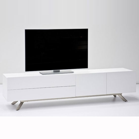 Gallus TV Stand In Matt White With 2 Doors And 2 Drawers_3