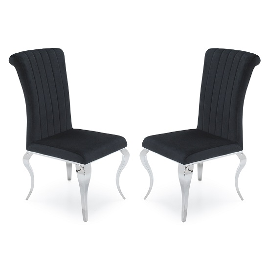 Galvan Fabric Dining Chair In Black With Metal Frame In A Pair