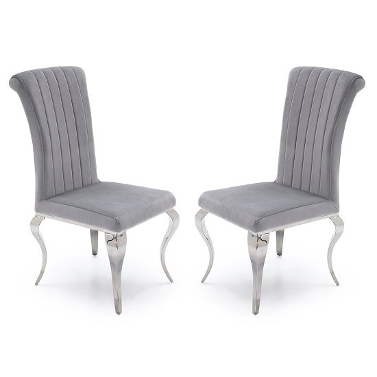 Galvan Fabric Dining Chair In Silver With Metal Frame In A Pair