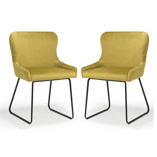 Galway Mustard Brushed Velvet Dining Chairs In Pair