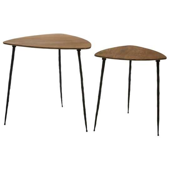 Diphda Set Of 2 Nesting Side Tables With Oak Veneer Tops