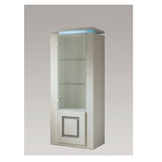 Garde Display Cabinet In White Gloss With Diamante And Light