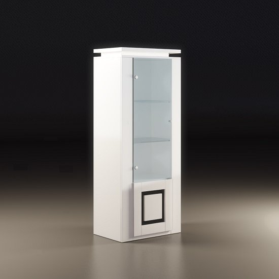Garde Display Cabinet In White Gloss With Black And Light