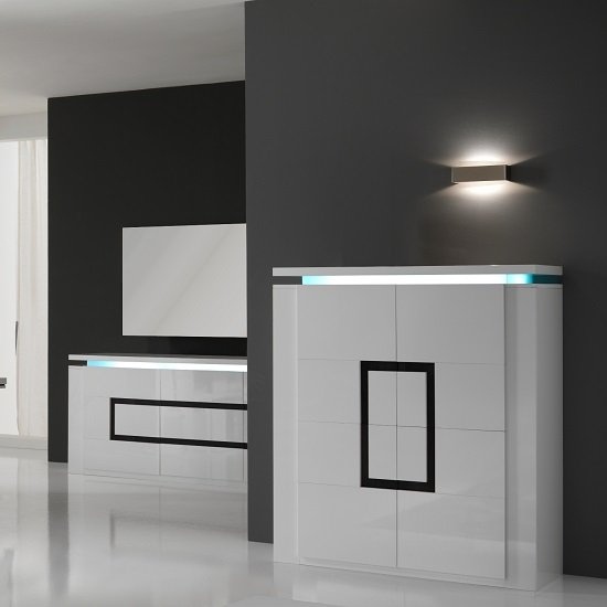Garde Sideboard In High Gloss White With Led Lights