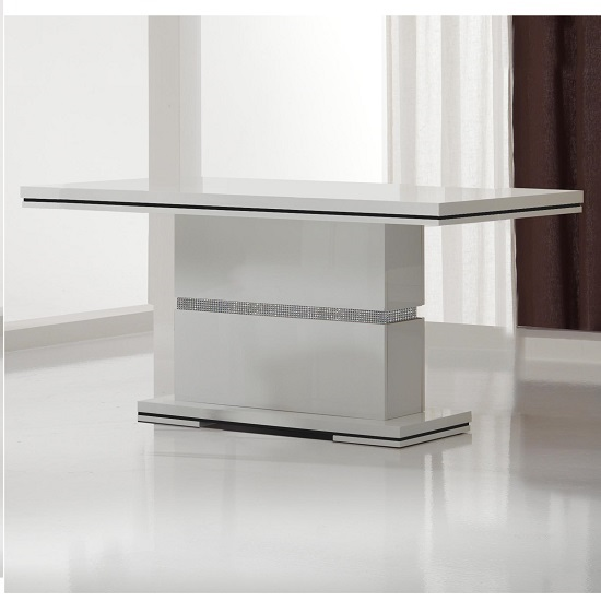 Garde Dining Table In White Gloss And Diamante Design_1
