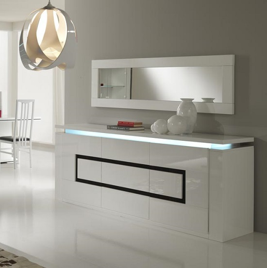 Garde Sideboard In High Gloss White And Black With Led